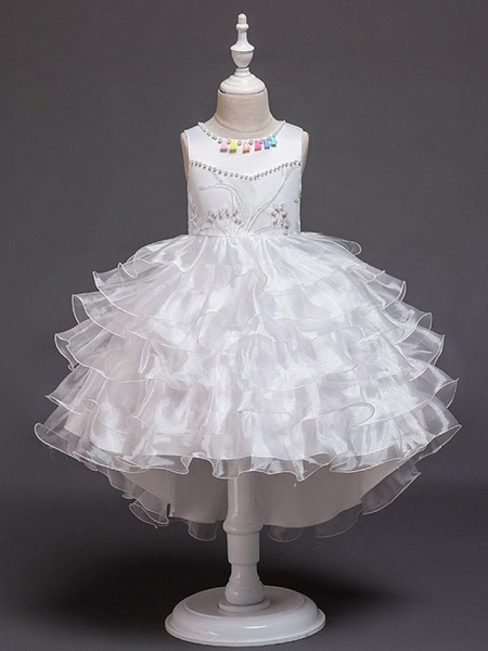 Princess / Ball Gown Knee Length Wedding / Party Flower Girl Dresses - Satin / Tulle Sleeveless Jewel Neck With Bow(S) / Beading / Cascading Ruffles_6