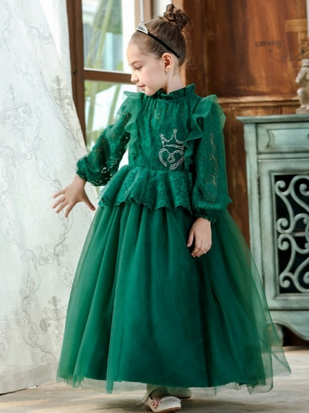 Princess / Ball Gown Ankle Length Wedding / Party Flower Girl Dresses - Lace / Tulle Long Sleeve High Neck With Pleats / Beading