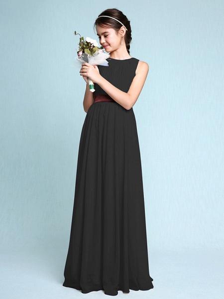 Sheath / Column Scoop Neck Floor Length Chiffon Junior Bridesmaid Dress With Draping / Natural_40
