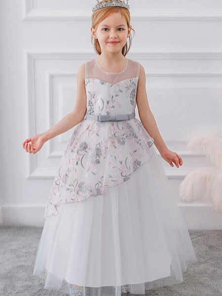 Princess / Ball Gown Floor Length Wedding / Party Flower Girl Dresses - Tulle Sleeveless Illusion Neck With Sash / Ribbon / Bow(S) / Embroidery_1