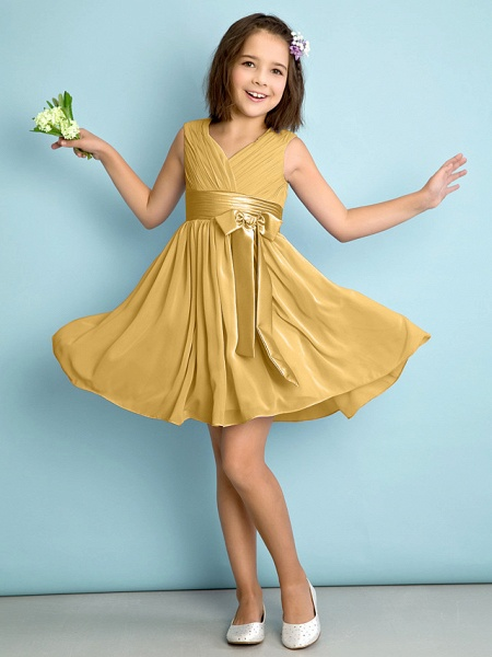 A-Line V Neck Knee Length Chiffon Junior Bridesmaid Dress With Bow(S) / Criss Cross / Natural_21