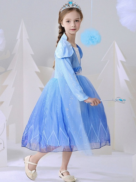 A-Line Ankle Length Event / Party / Birthday Flower Girl Dresses - Polyester Long Sleeve Square Neck With Paillette_2