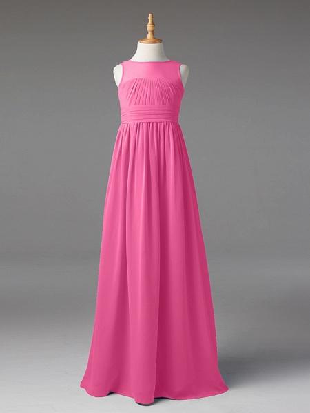 Princess / A-Line Jewel Neck Floor Length Chiffon Junior Bridesmaid Dress With Sash / Ribbon / Pleats_22