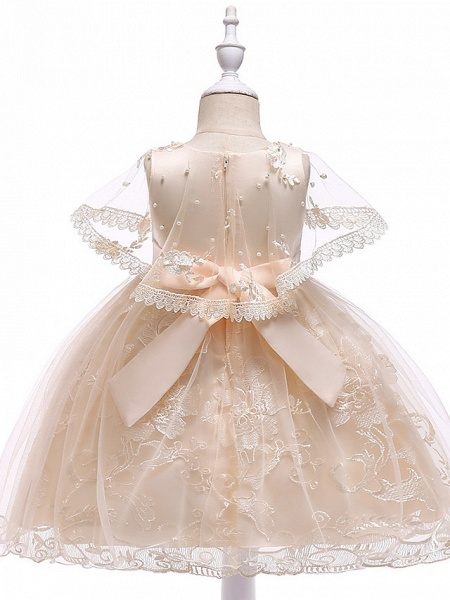Princess Medium Length Wedding / First Communion Flower Girl Dresses - Lace / Tulle / Mikado Sleeveless Jewel Neck With Pearls / Appliques / Bandage_6