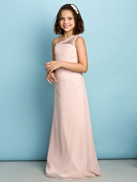 Princess One Shoulder Floor Length Chiffon Junior Bridesmaid Dress With Crystals / Side Draping / Natural / Mini Me_3