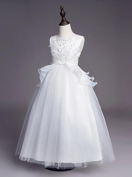 Princess Long Length Wedding / First Communion Flower Girl Dresses - Satin / Tulle Sleeveless Jewel Neck With Belt / Beading / Embroidery_3