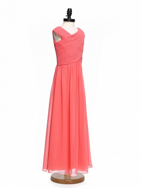 A-Line V Neck Floor Length Chiffon Junior Bridesmaid Dress With Criss Cross / Ruched / Natural_3