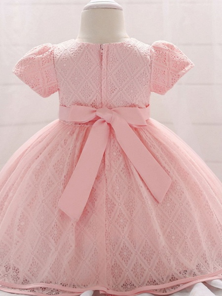 Ball Gown Floor Length Party / Birthday Flower Girl Dresses - Lace / Tulle Short Sleeve Jewel Neck With Belt / Beading_2