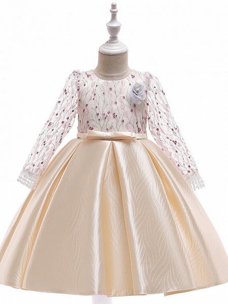 A-Line Knee Length Wedding / Birthday / Pageant Flower Girl Dresses - Cotton Blend Long Sleeve Jewel Neck With Petal / Sash / Ribbon / Embroidery_2