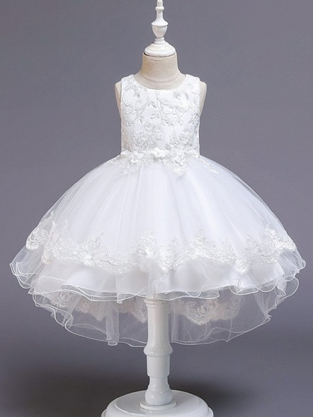 Princess / Ball Gown Knee Length Wedding / Party Flower Girl Dresses - Tulle Sleeveless Jewel Neck With Bow(S) / Appliques_9