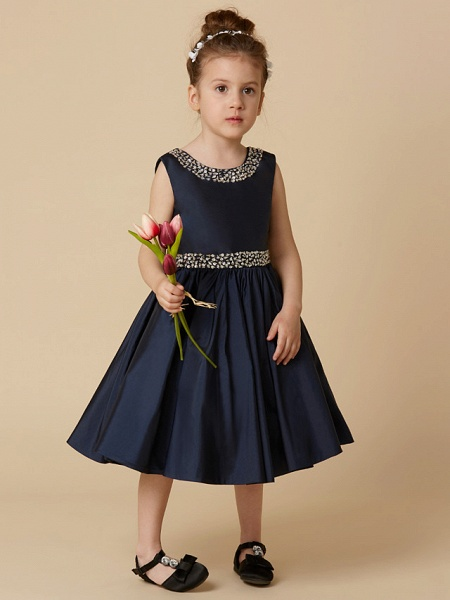 A-Line Knee Length Pageant Flower Girl Dresses - Taffeta Sleeveless Jewel Neck With Beading / Crystal Brooch_1
