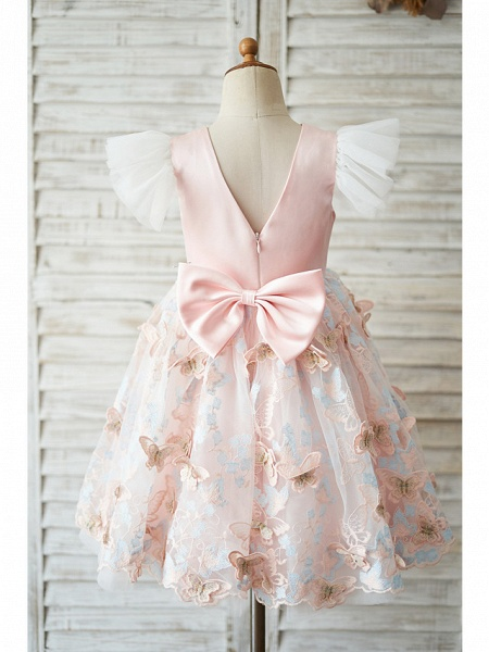 Ball Gown Knee Length Wedding / Birthday Flower Girl Dresses - Tulle Cap Sleeve Jewel Neck With Butterfly Design / Bow(S)_2