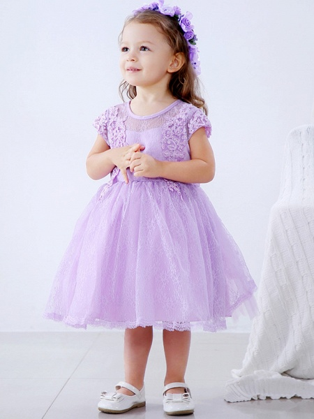 Ball Gown Medium Length Wedding / Party Flower Girl Dresses - Lace / Satin / Tulle Short Sleeve / Sleeveless Jewel Neck With Lace / Bow(S) / Appliques_4