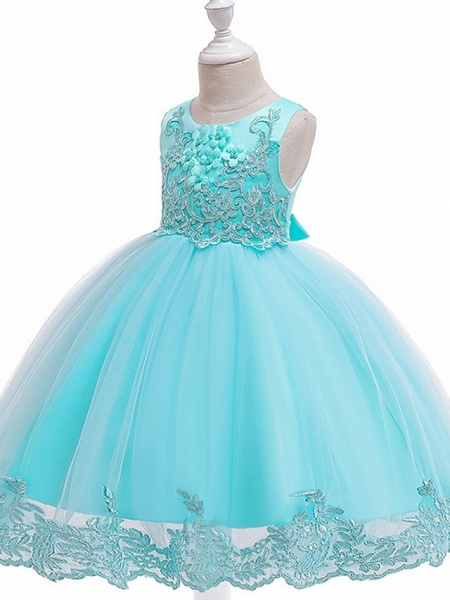Ball Gown Knee Length Wedding / Party Flower Girl Dresses - Tulle Sleeveless Jewel Neck With Bow(S) / Appliques_12