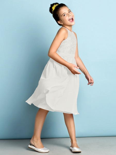 A-Line Jewel Neck Knee Length Chiffon / Lace Junior Bridesmaid Dress With Lace / Natural / Mini Me_48