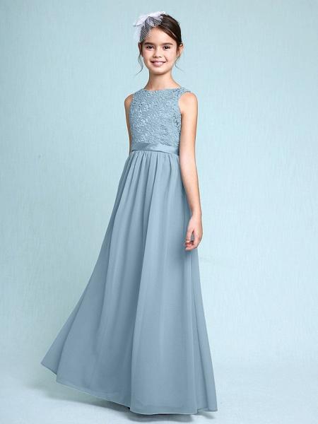 Sheath / Column Bateau Neck Floor Length Chiffon / Lace Junior Bridesmaid Dress With Lace / Natural_31