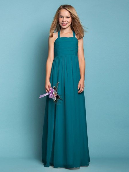 Sheath / Column Halter Neck Floor Length Chiffon Junior Bridesmaid Dress With Ruched / Spring / Summer / Fall / Apple / Hourglass_27