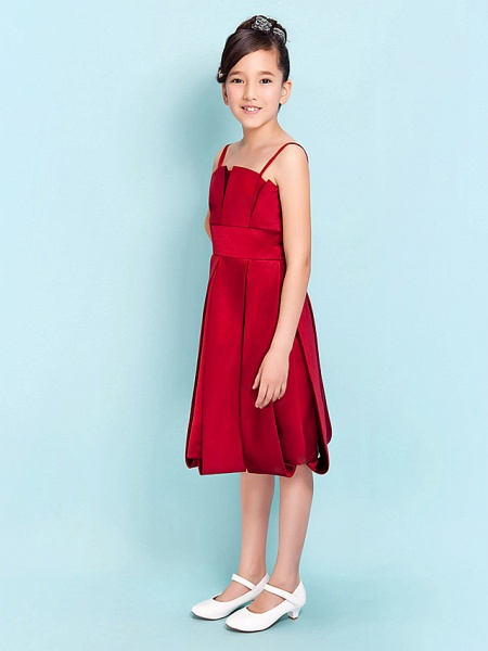 Princess / A-Line Spaghetti Strap Knee Length Satin Junior Bridesmaid Dress With Sash / Ribbon / Draping / Spring / Summer / Fall / Hourglass / Inverted Triangle_3