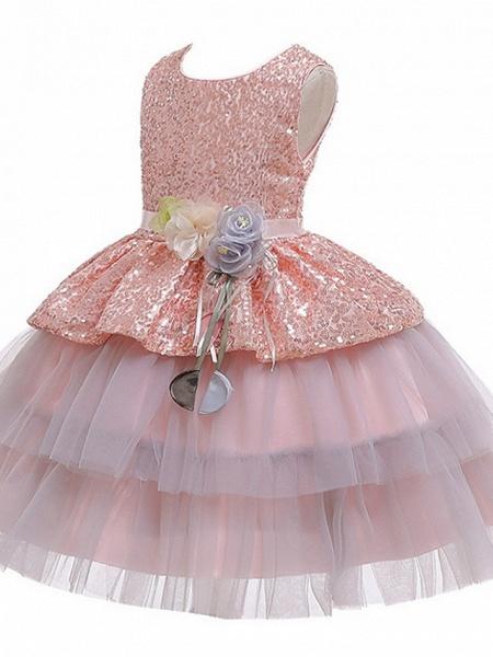 Ball Gown Floor Length Birthday / Formal Evening Flower Girl Dresses - Polyester Sleeveless Jewel Neck With Sash / Ribbon / Paillette_5