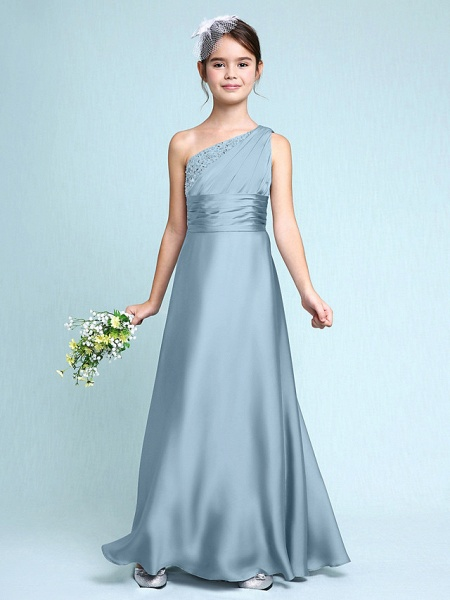 Sheath / Column One Shoulder Floor Length Chiffon Satin Junior Bridesmaid Dress With Ruched / Side Draping / Natural_32