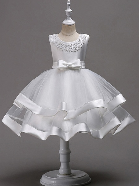 Princess Knee Length Wedding / First Communion / Pageant Flower Girl Dresses - 100% Polyester Sleeveless Jewel Neck With Faux Pearl / Bow(S) / Beading_2