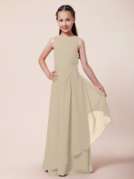 A-Line / Sheath / Column Bateau Neck Floor Length Chiffon Junior Bridesmaid Dress With Beading / Side Draping / Spring / Summer / Fall / Winter / Wedding Party_17
