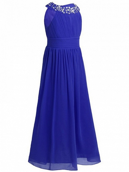 A-Line Round Floor Length Chiffon / Sequined Junior Bridesmaid Dress With Beading / Ruching_8