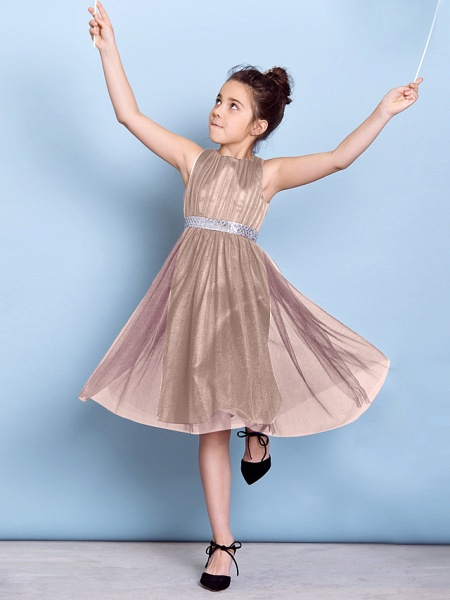 A-Line Jewel Neck Knee Length Tulle Junior Bridesmaid Dress With Sash / Ribbon / Sequin / Draping / Natural_18
