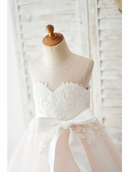 Ball Gown Knee Length Wedding / Party Flower Girl Dresses - Lace / Tulle Sleeveless Jewel Neck With Belt_3