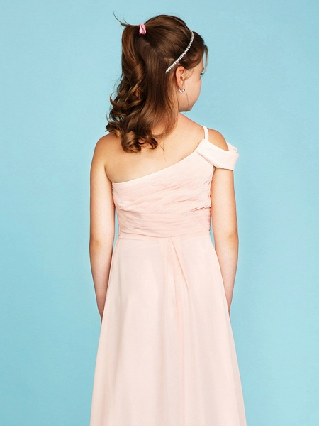 Princess / A-Line One Shoulder Floor Length Chiffon Junior Bridesmaid Dress With Sash / Ribbon / Side Draping / Wedding Party / Open Back_5