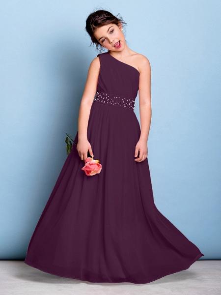 A-Line One Shoulder Floor Length Chiffon Junior Bridesmaid Dress With Sash / Ribbon / Beading / Side Draping / Natural_17