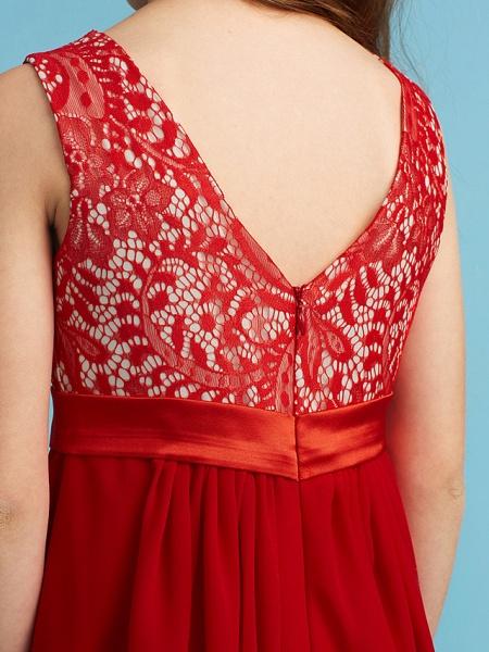 Sheath / Column Jewel Neck Floor Length Chiffon / Lace Junior Bridesmaid Dress With Sash / Ribbon / Appliques_8