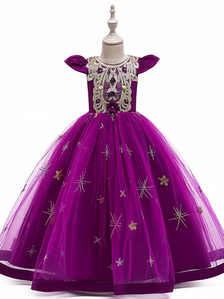 A-Line Ankle Length Wedding / Party / Pageant Flower Girl Dresses - Tulle / Matte Satin / Poly&Cotton Blend Short Sleeve Jewel Neck With Pattern / Print / Solid_9