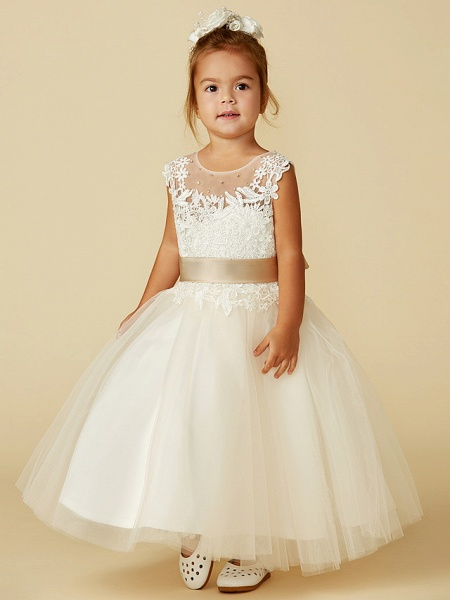 Ball Gown Ankle Length / Knee Length Wedding / Party / Pageant Flower Girl Dresses - Lace / Tulle Sleeveless Jewel Neck With Belt / Buttons / Beading_3