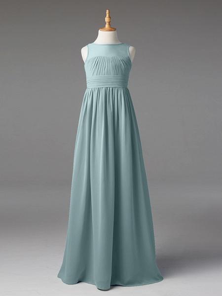 Princess / A-Line Jewel Neck Floor Length Chiffon Junior Bridesmaid Dress With Sash / Ribbon / Pleats_10