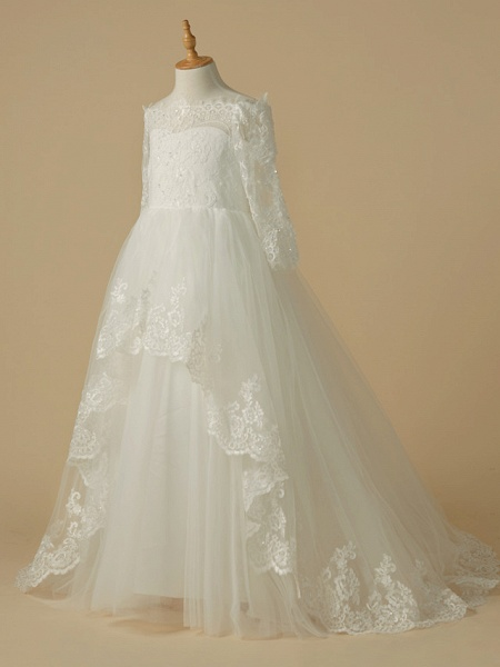 A-Line Sweep / Brush Train Wedding / First Communion Flower Girl Dresses - Lace / Tulle Half Sleeve Bateau Neck With Beading / Appliques_3