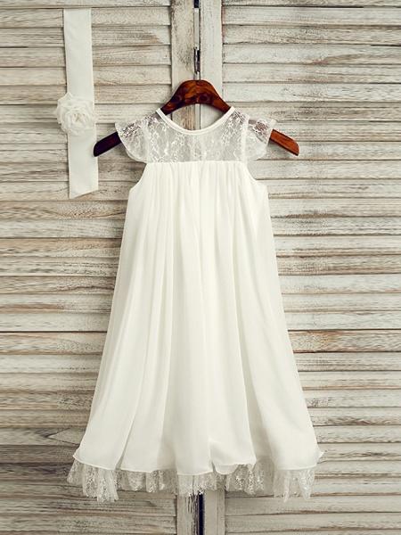 A-Line Tea Length Wedding / First Communion / Holiday Flower Girl Dresses - Lace / Satin Chiffon Sleeveless Jewel Neck With Sash / Ribbon_1