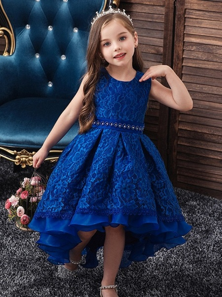 Princess / Ball Gown Floor Length Wedding / Party Flower Girl Dresses - Lace / Tulle Sleeveless Jewel Neck With Sash / Ribbon / Embroidery_2