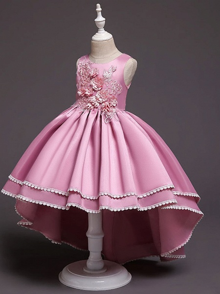 A-Line Asymmetrical Wedding / Party Flower Girl Dresses - Satin Chiffon Sleeveless Jewel Neck With Bow(S) / Appliques_6