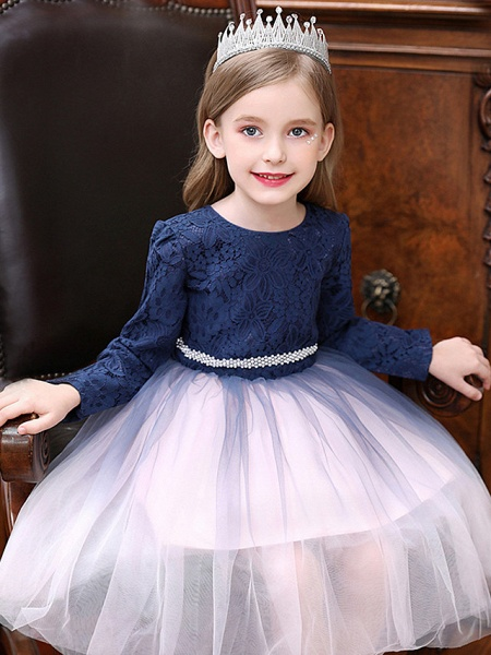 Princess / Ball Gown Tea Length Wedding / Party Flower Girl Dresses - Tulle Long Sleeve Jewel Neck With Crystals / Splicing_2