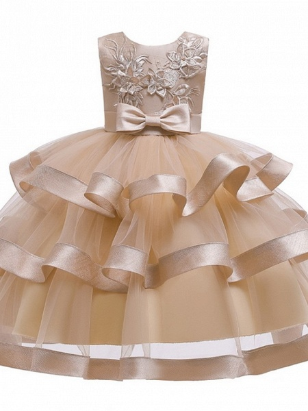 Princess / Ball Gown Knee Length Wedding / Party Flower Girl Dresses - Tulle Sleeveless Jewel Neck With Sash / Ribbon / Bow(S) / Tier_5