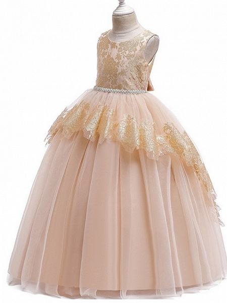 Ball Gown Floor Length Pageant Flower Girl Dresses - Tulle Sleeveless Jewel Neck With Lace / Bow(S)_5