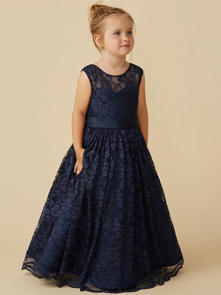 Ball Gown Floor Length Pageant Flower Girl Dresses - Lace Sleeveless Jewel Neck With Sash / Ribbon / Bow(S)_3