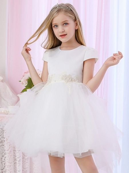 Princess / Ball Gown Medium Length Wedding / Event / Party Flower Girl Dresses - Satin / Tulle Cap Sleeve Jewel Neck With Beading / Appliques / Color Block_2