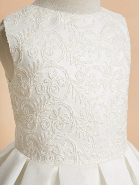 A-Line Ankle Length Wedding / First Communion Flower Girl Dresses - Lace / Satin Sleeveless Jewel Neck With Lace_4