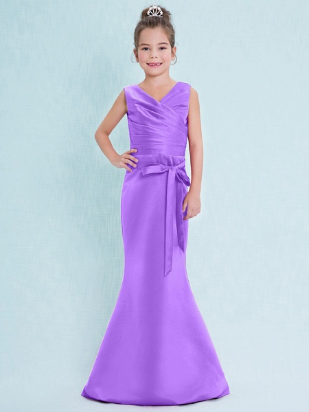 Mermaid / Trumpet V Neck Floor Length Satin Junior Bridesmaid Dress With Criss Cross / Natural_31