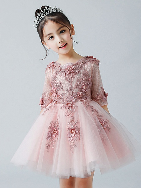 A-Line Ankle Length Christmas / Birthday Flower Girl Dresses - Tulle Half Sleeve Jewel Neck With Appliques_1