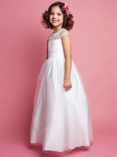 Princess / A-Line Floor Length Wedding / First Communion Tulle Sleeveless Jewel Neck With Ruched / Beading / Appliques_3