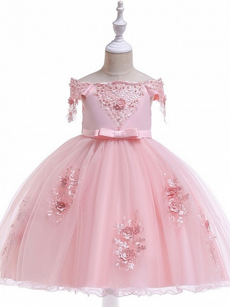 Princess / Ball Gown Knee Length Wedding / Party Flower Girl Dresses - Satin / Tulle Short Sleeve Off Shoulder With Sash / Ribbon / Bow(S) / Appliques_9