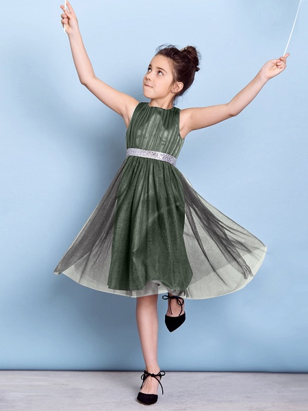 A-Line Jewel Neck Knee Length Tulle Junior Bridesmaid Dress With Sash / Ribbon / Sequin / Draping / Natural_27